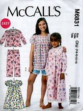 McCall's Girls Kids Pajama Nightgown Sewing Pattern 6831 Gown Sew Paper Easy NEW