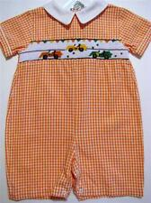 CARRIAGE BOUTIQUE BOYS SMOCKED SHORTALL W/EMBROIDERED GO KARTS~6M,9M~NWT'S