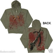 New Authentic The Walking Dead Crossbow Ears Zip Up Hoodie