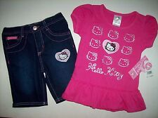 Hello Kitty Outfit Girls 2pc Set Top Shorts Size 2T 3T 4Toddler Heart Faces NWT