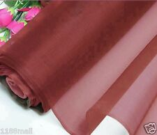 By 0.5 Yard Light Weight 100% Pure Silk Organza Fabric Material Rosewood Voile