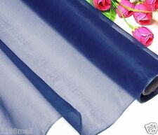 By 0.5 Yard 100% Pure Silk Organza Fabric Material Cobalt Blue Light Weight Thin