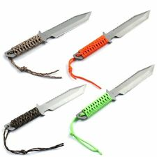 """Full Tang 11"""" Survival Knife Serrated Tanto Blade with Fire Starter (4 Colors)"""