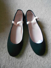 Black canvas low heel regulation character dance shoes - assorted sizes