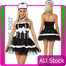 Ladies French Maid Costume Adult Fancy Dress Up Hens Party Showgirls Full Outfit