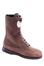 Women's Shoes Boots HOGAN Traditional Tronchetto Zip Bid Noce Light Brown New