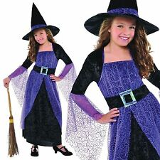 Deluxe Girls Purple Witch with Hat Oz Book Day Fairytale Fancy Dress Costume