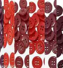 "19mm 3/4"" SZ 30 Plastic 4 Hole Coat Suit Shirt RED 10-90 buttons Discount"