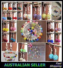 Silver Shamballa 10mm Disco Ball Earrings Crystal Rhinestone Dangle 23 Colours