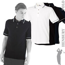 Henbury - H152 - Single Tip Collar Cotton Polo Shirt with Piped Cuff (3 Cols)