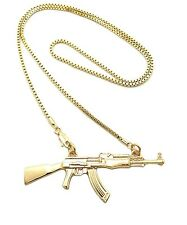 "New Style Machine Gun Pendant w/2mm 24"" Box Chain Hip Hop Necklace FXZP9BX"
