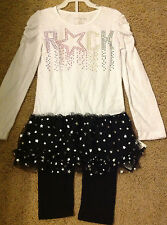 NWT ONE STEP UP Girls Rock StarTop Tulle Skirt Legging Set Size 6X LAST ONE