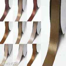 "Double Faced Satin Ribbon 1"" /25mm Wedding 5 Yards Ivory to Brown color"