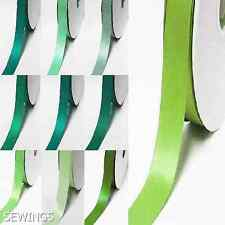 "Double Faced Satin Ribbon 1"" / 25mm. Wedding 5 Yards, Lime to Green Grossgrain"