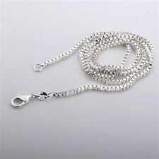 """925 Silver BOX Chains Necklace 2mm Width 16 TO 30"""" Length #1"""