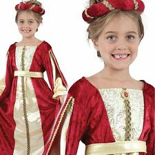 Regal Red Princess Queen Tudor Medieval Girls Fancy Dress Costume Ages 6 - 11