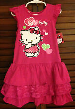 NEW Toddler Girls Hello Kitty Pink Hearts Ruffle Lace Tier Dress SZ 3T LAST ONE