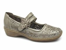 Rieker Antistress 41372-63 Womens Ladies Leather Velcro Mary Jane Shoes Beige