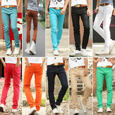 Mens Slim Fit Casual Pants Skinny Stretch Pencil Jeans Trousers 10 Colors 7 Size
