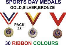 PACK OF 25 School Sports Day Medals with Ribbons (Only 88p Each!) GMM7050