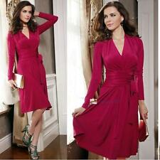 European and American Fashion Womens Bandage Solid Color V-neck Big Swing Dress