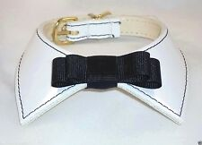 Dog Pet Collar Patent Leather in White with Black Bow Tie,  made in USA!