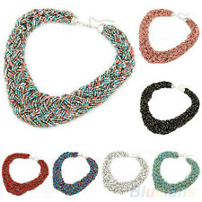 B22U Queen Style Multicolor Bohemian Handmade Weaven Simple Beads Necklace Chain