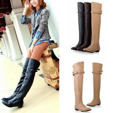 New Women fashion sexy long over the knee high boot flat boots shoes #WR