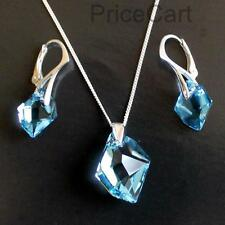 GENUINE SWAROVSKI CRYSTAL COSMIC PENDANT, SET OF 925 SILVER EARRINGS & NECKLACE