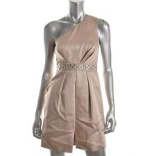Laundry by Shelli Segal Gold Metallic One Shoulder Cocktail Dress - NEW