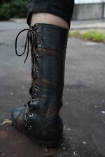 Ayya Spiral Tabi Boots, Leather Adjustable Lace-Up Split Toe Ninja Black + Brown
