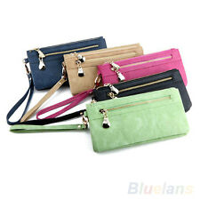 Lady Wallet Wristlet Card Coin Holder Long Clutch Zipper Purse 7 Colors BB8U
