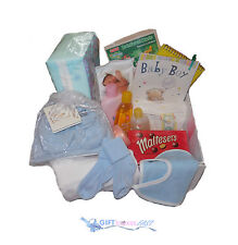 NEW BORN PRESENT-LUXURY BOX / HAMPER FOR A GIRL OR BOY, PAMPERS NAPPIES,JOHNSONS