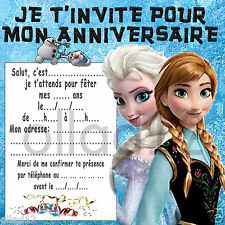 6 CARTES INVITATION ANNIVERSAIRE LA REINE DES NEIGES - FROZEN - VENDUES PAR 6