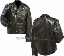 Mens Black Leather Motorcycle Riding Jacket Classic Bike Style Coat