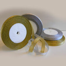 Organza Glitter Ribbon - 25Yds/Roll  Sparkle - Gold / Silver - 6mm , 10mm , 15mm