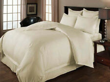 USA  600-800-1000ThreadCount IVORY  BEDDING SET 100% COTTON SOLID & STRIPE 04