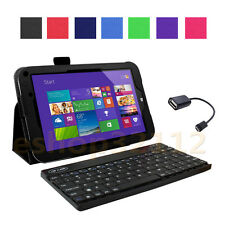 Folio PU Leather Case for Toshiba Encore WT8-A + Bluetooth keyboard + OTG Cable