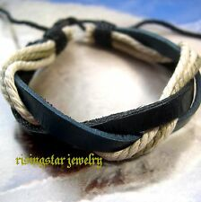 2 Men Handmade Leather Hemp Woven Stylish Fashion Surfer Bracelets Wristbands