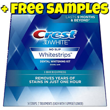 NEW CREST 3D WHITE 1 HOUR EXPRESS WHITESTRIPS - TEETH WHITENING STRIPS NOT 2 HR