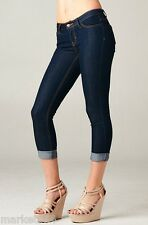 PLUS Sizes Dark Capri Jeans Basic Navy Cropped Cuffed Denim BIG WOMEN stretch