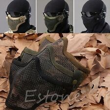 Hunting Tactical Half Lower Face Metal Steel Net Mesh Protective Airsoft Mask
