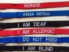 "Embroidered XL DOG COLLAR 16"" to 26"" Red, Blue or Black,various wording FREE P&P"