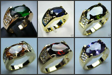 Fashion Men's  Yellow Gold Plated Ring Size 8,9,10,11,12 CZSR7P