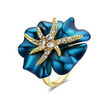 18K Rose Gold Plated Swarovski Crystal Charm Ocean Star Blue Flower Ring Jewelry