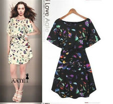 New Fashion Lady's Women Spring Summer  Animal Print Vintage Mini Dress