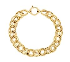 Textured & Polished Rolo Link Bracelet Real 14K Yellow Gold QVC J289238