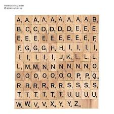 New 100 Wooden Scrabble tiles complete black font letter use for scrapbooking