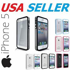 Apple iPhone 5 / 5s case TPU Bumper Frame w/ Metal Buttons Color Clear Cover