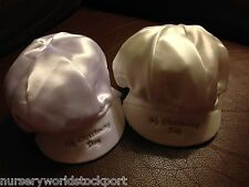 cotton lined polyester satin hat cap christening baby babies boys white ivory